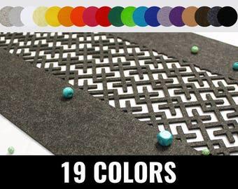 Felt runner, table runner, modern table runner, geometric runner, 19 colors - Geometric