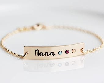 Birthstone Bracelet - Thick Personalized Bar Bracelet, Engraved Birthstone Nameplate, Personalized Gift for Mom, Grandma Gift, Birthstones