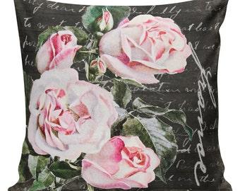 Spring Pillows, Botanical Pillows, Roses, Floral, Spring Decor, Cushion Covers, Throw Pillows, Made in USA, Cotton, Burlap,   #EHD0151