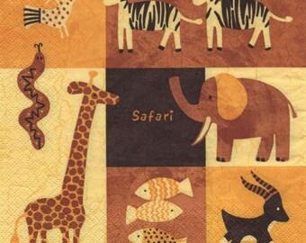 3320 lot 3 Savannah animals paper napkins