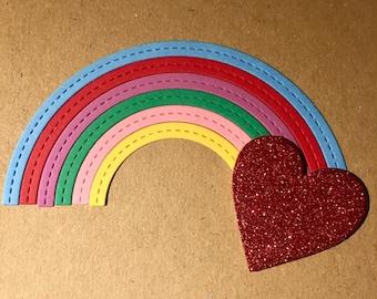 Rainbow card with heart.  Handmade. LGBT