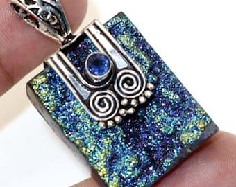 Antique style  Natural Titanium Druzy   ,  Blue  Quartz Handmade 925 Silver Plated Pendant Jewelry B 607