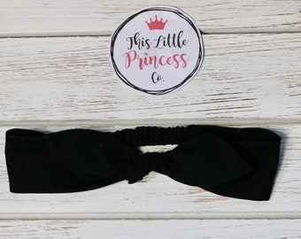 Black Tie Up Elastic Headbands, Top Knot Headband, Girls Headbands, Knot Headbands, Baby & Toddler Headbands, Womens Headbands