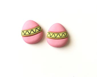 Pink Easter Egg, Easter Egg Earrings, Pink and Yellow Easter Egg Earrings, Easter Egg Stud Earrings, Easter Jewelry, Pastel Color