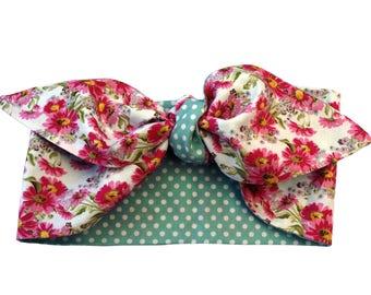 Pink Daisy Mint Green Polka 50s Dot Head Scarf Tie Band