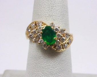 Solid 14K Yellow Gold 0.85 Carat Emerald & Diamond Ring Size 5.5, 3.1 grams