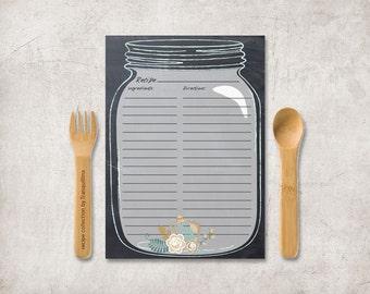 Recipe Card Printable, Bridal Shower Recipe Card, Mason jar Recipe card, Chalkboard Recipe Card, Printable Recipe Card, Digital File