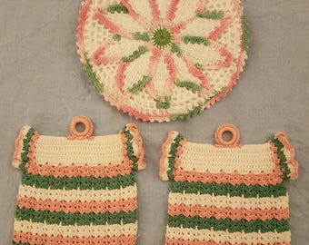 Pink and green vintage potholders