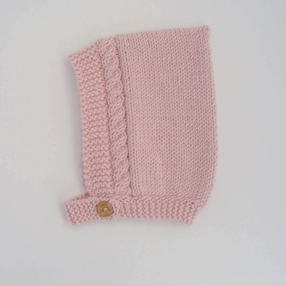 Cable Knit Pixie Hat in Pink Merino/Silk/Cashmere Wool - Made to Order