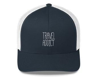 Baseball Cap, Travel Addict Baseball Cap, Wanderlust, Wanderlust Gift, Gift for Her, Gym Hat, Adventure, Travel, Camping, Embroidered