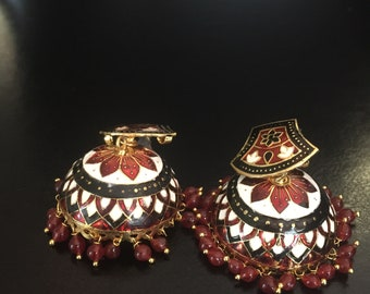 Gorgeous meenakari red black and white jhumka earrings with red beads