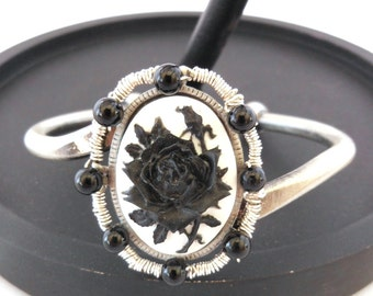 Gothic Black Rose Cameo Antique Silver Adjustable Cuff Bracelet Wire Wrapped Black Agate Genuine Gemstone Beads
