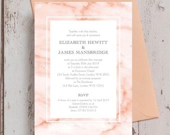 Personalised Blush Pink Marble Wedding Invitation & RSVP with envelopes