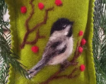 Needle Felted Handmade Christmas Ornament, Chickadee With Red Berries, Songbird Ornaments, Wildlife Christmas Ornament