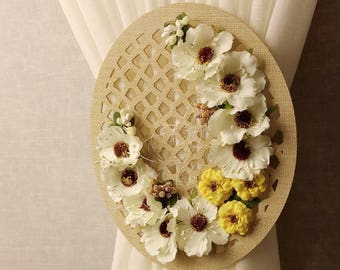 Curtain tie back, Flower tiebacks, Shabby chic tiebacks, Flower decor, Cottage chic, Country tiebacks, Drapery ties, Flower curtain decor
