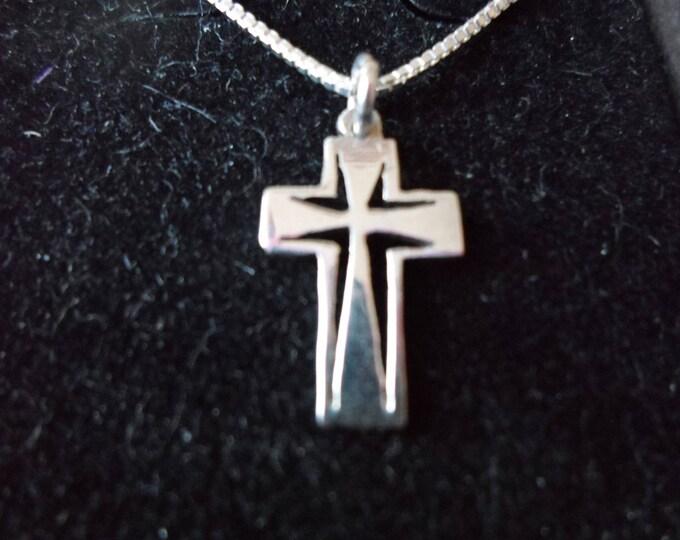 Cross quarter size w/sterling silver chain