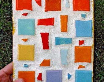 Vintage Original Tile Mosaic // Pollock Picasso Era Abstract Art // Cubism Plaster on Wood Trivet