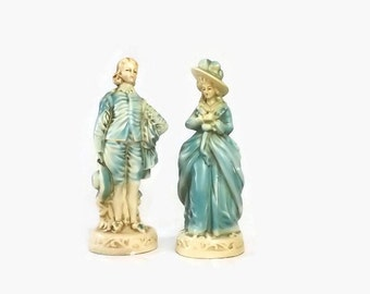 Chalkware Colonial Couple Figurines, Vintage Lady and Gentleman Statues, Blue & Cream Cottage Chic Home Decor