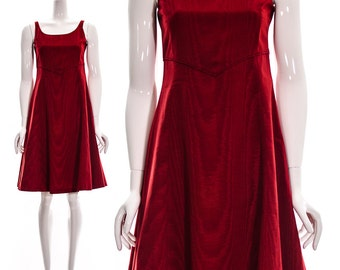 Red Retro Empire Waist Strappy Dress