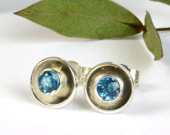 Sterling silver dome studs with faceted blue topaz, hand-set blue gemstone post earrings, alternative December birthstone, gift for women