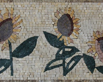 "Yellow Garden Sunflower 28""x14"" Wall Mural Miniature Marble Mosaic FL958"