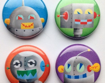 Robot party favors Robot Magnets, Set of Four, robot gift idea, robot kitchen magnets, robot magnet set, gift for kids
