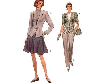 Jacket, Flared Skirt and Pants, Women's Sewing Pattern, Misses Size 8-10-12 Uncut Vogue 8430