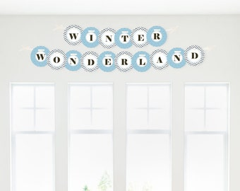 Winter Wonderland - Garland Banner - Custom Snowflake Holiday Party & Winter Wedding Decorations