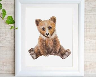 Bear Print Bear Painting Bear Art Bear Nursery Decor Woodland Animals Nursery Painting Bear Watercolor Baby Bear Cub Wall Art Boy Girl Room
