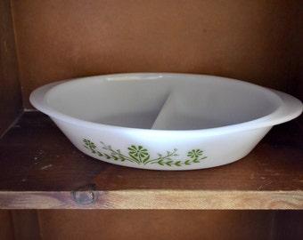 Pyrex Vintage Floral Milk Glass Glassbake Divided Dish