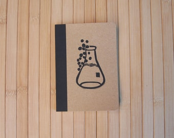 Pocket science notebook hand-stamped bubbling flask picture bamboo paper