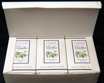Vintage Set Of 3 Crabtree & Evelyn Vanilla Perfumed Soap In Box Made In Britain