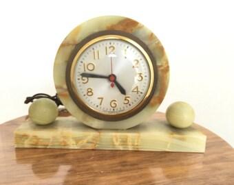 Vintage Art Deco Alabaster Mantle Clock