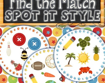Spot It Style Find the Match - INSTANT DOWNLOAD