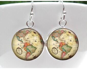 Globe Earrings - World Map Earrings  - Gift for world traveler - World Globe Sterling Silver Plated Dangle Earrings
