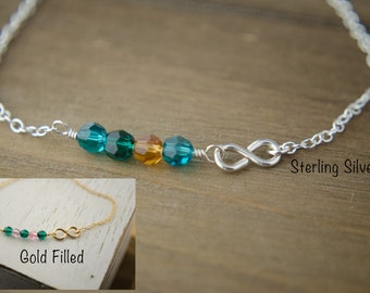 Silver or Gold Infinity Bracelet   Family Personalized Birthstones   Sideways Infinity Bracelet