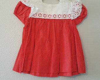Vintage Girls Red Polka Dot Dress with Eyelet Lace and Flutter Sleeves by C.I. Castro - Size 2t- New, never worn