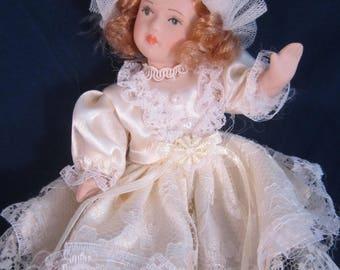 Vintage Porcelain Doll Bisque Finish Wedding Dress