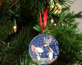 """Pink and The Brain Christmas Tree 2.25"""" Ornament"""