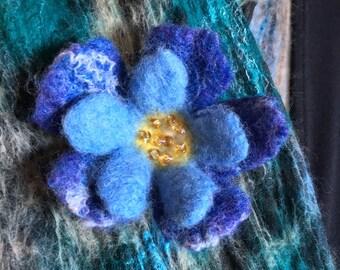Felted blue primrose brooch