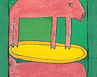 "Pig on Pig - 8"" x 10"" matted, signed digital Giclee print from original artwork"