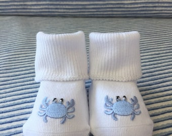 Light Blue Crab Baby Bootee