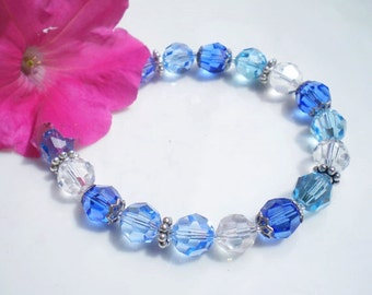 Sapphire Aquamarine Swarovski Crystal Bracelet 8mm Crystals Sterling Silver Accents