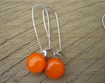 Orange Fused Glass Sterling Silver Danglies Earrings