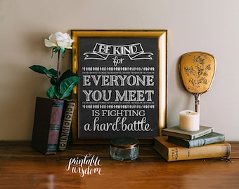 Quote Wall art Print Printable home decor inspirational quotes, be kind for everyone you meet, chalkboard wall art print INSTANT DOWNLOAD