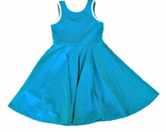 Sleeveless Skater Dress Twirl Toddler Girls Kids Cotton Jersey, Turquoise Blue twirl twirling spin clothing