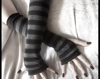 Dusk And Her Embrace Arm Warmers - Dark Charcoal Grey & Black Stripes - Chic Classic Bohemian Yoga Goth Gloves Cycling Light Emo Vampire