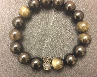 Dark crown Obsidian bracelet