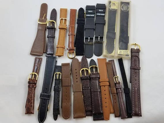 Lot of 21 vintage NEW OLD STOCK unused nos wrist watch bands / watch band / watch strap / leather / lizard / croc / alligator / suede /