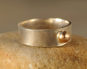 Silver and Gold Ring - Gold Nugget Ring